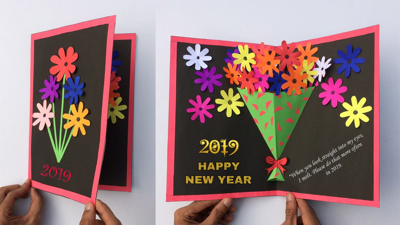 How To Make Greeting Card For This New Year Simple Craft Ideas