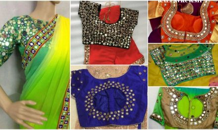 Stylish mirror work saree blouse designs