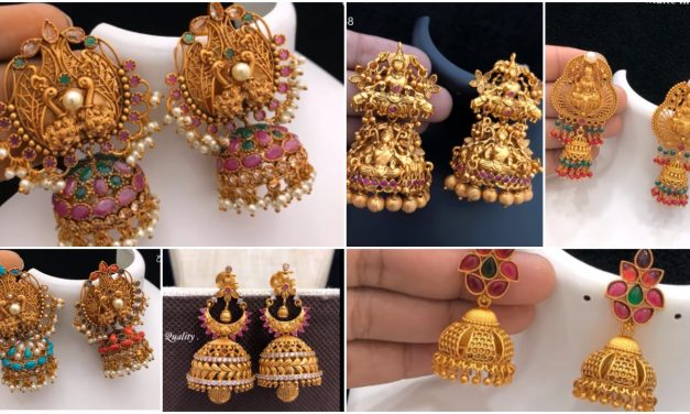 Traditional gold jhumkas earrings