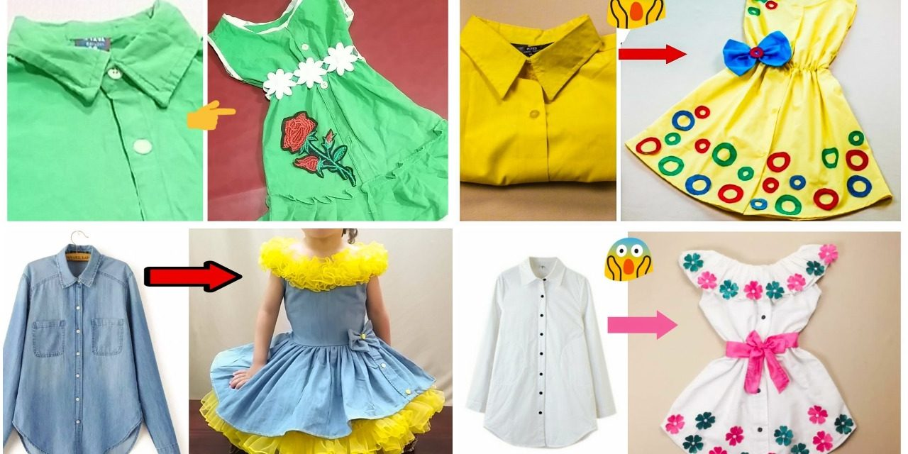 Reuse men's old shirt into girl's top only in 2 minutes