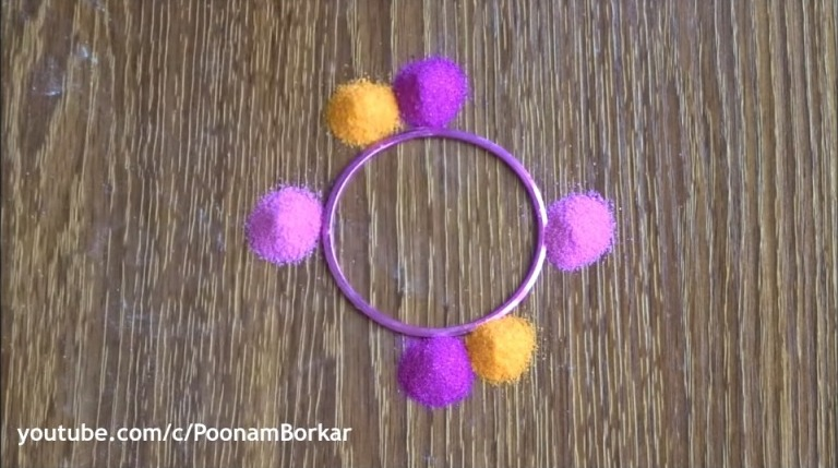 rangoli using a fork