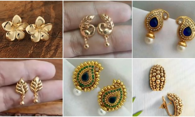 Beautiful light weight daily wear gold earrings designs