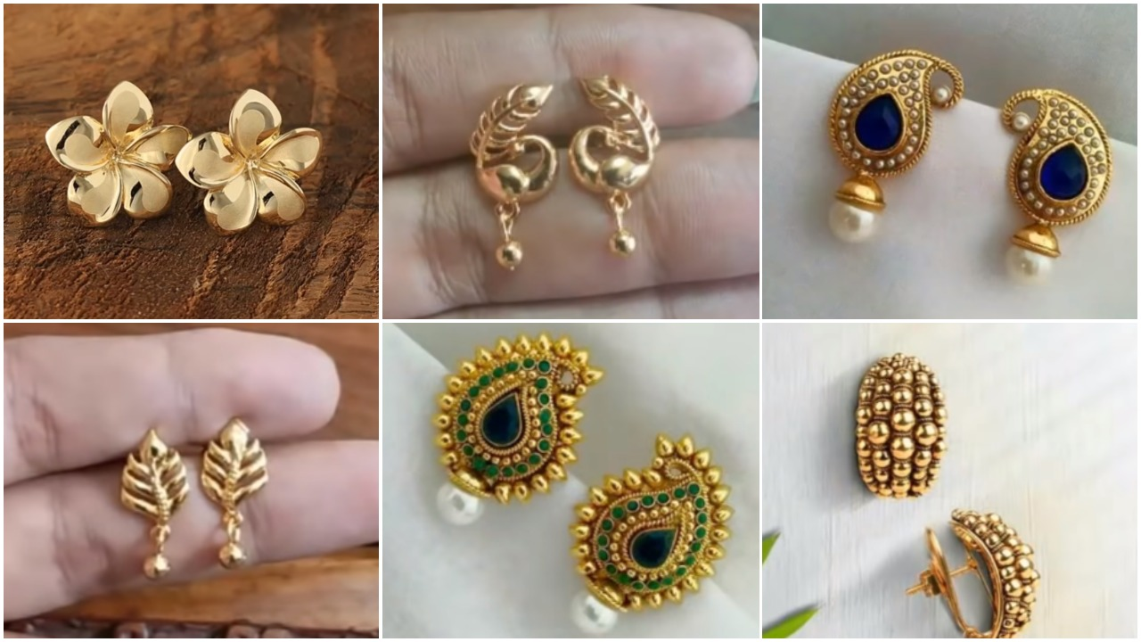light weight daily wear gold earring