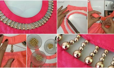 Very creative beaded latest boat neck design for kurti