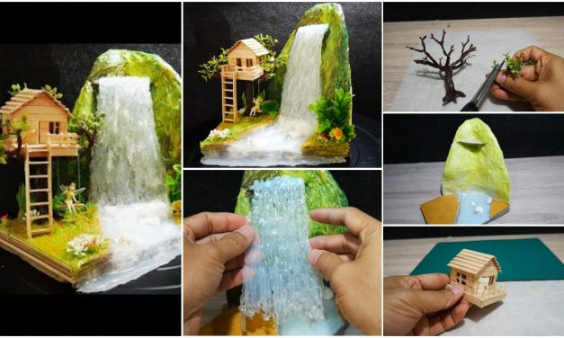 Hot glue waterfall mini house