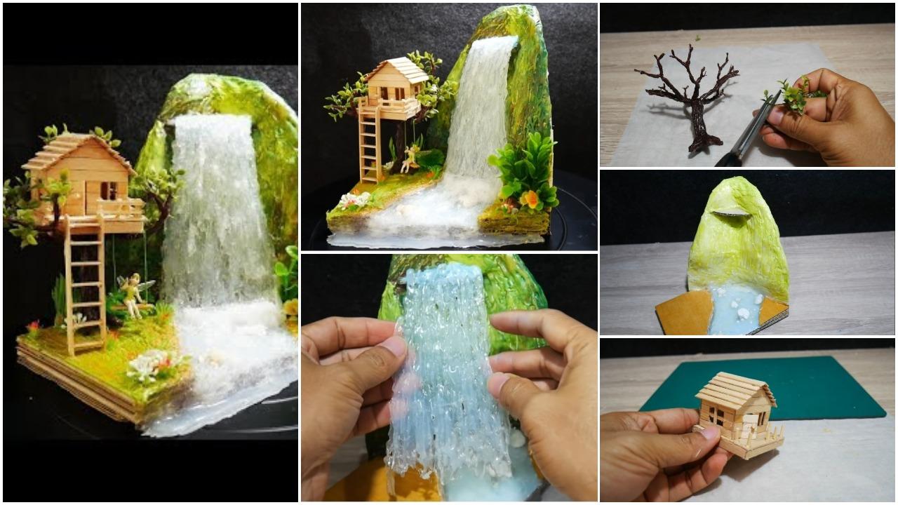 Hot glue waterfall mini house