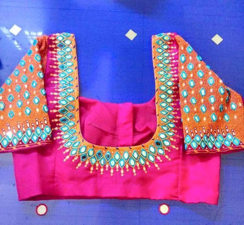 Mirror Work Blouse Designs