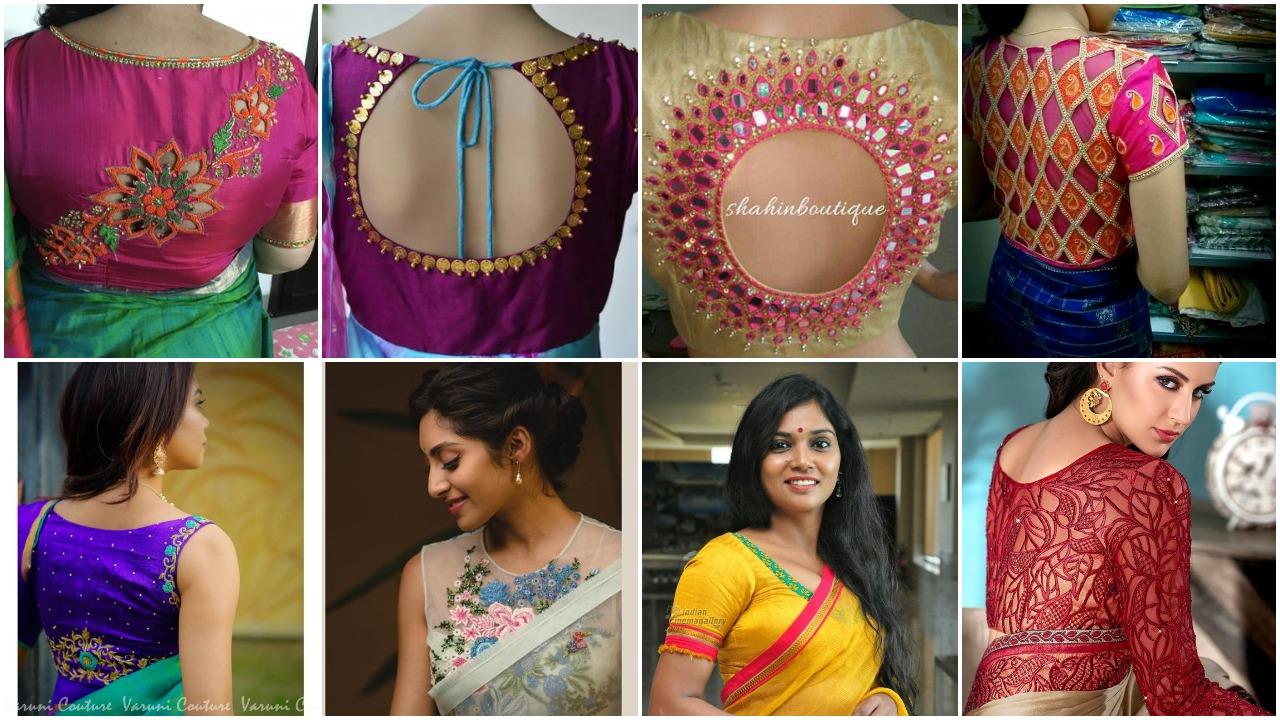 Designer work blouse neck designs to look trendy