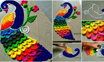Beautiful and attractive peacock rangoli