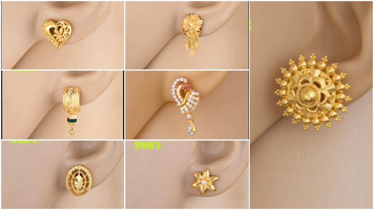 Stylish gold ear tops designs
