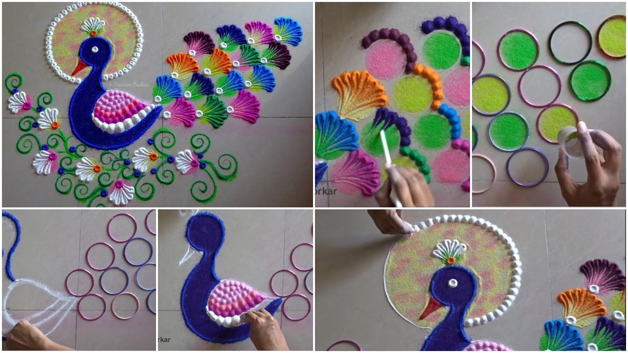 How to make peacock rangoli using bangles