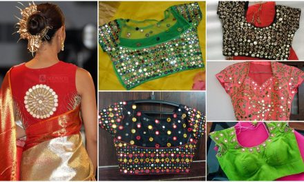 Trendy mirror work blouse designs for pattu sarees