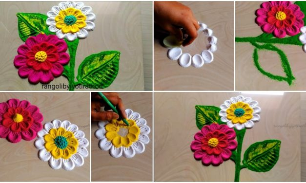 How to make easy rangoli put the flowers petals