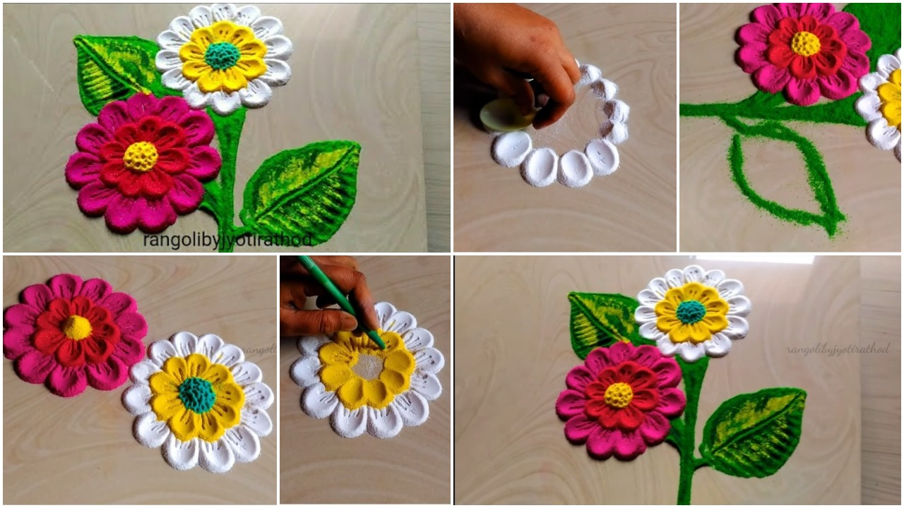 easy rangoli put the flowers petals