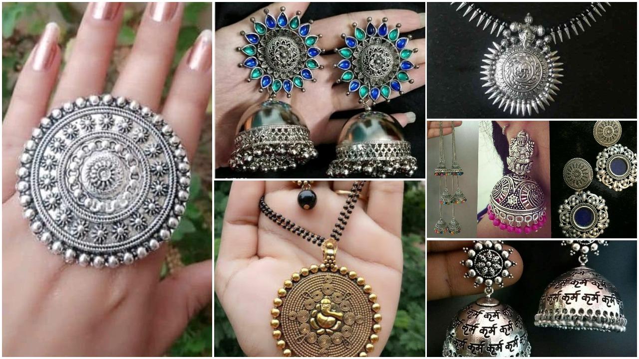 Oxidised silver women's jewellery sets