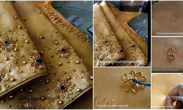 Beautiful zardosi flower making with normal stitching needle