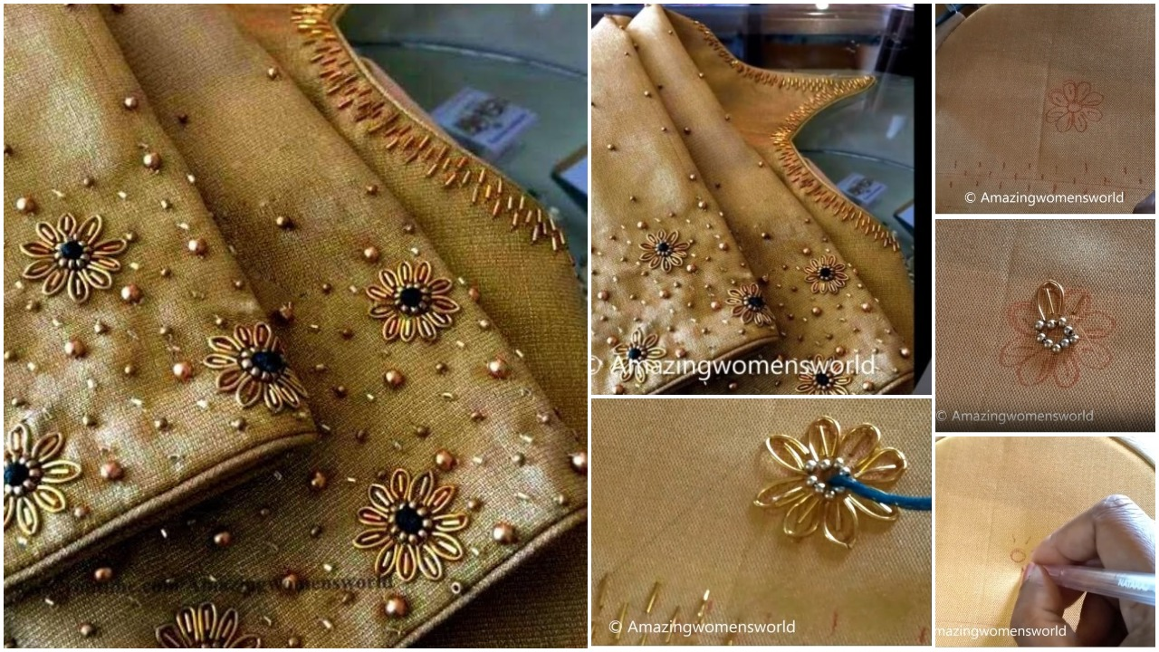 Beautiful zardosi flower making