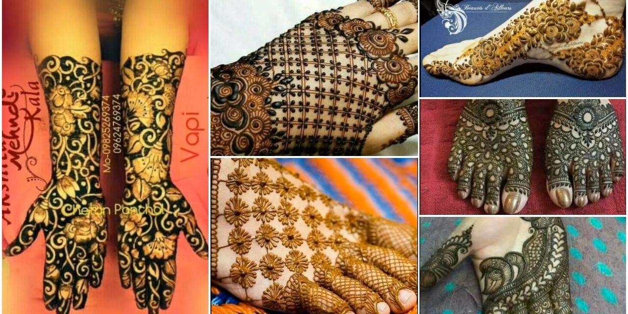 Newest bridal mehndi designs for hands and feet , Simple