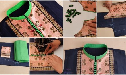 High neck kurti design with piping and potli button