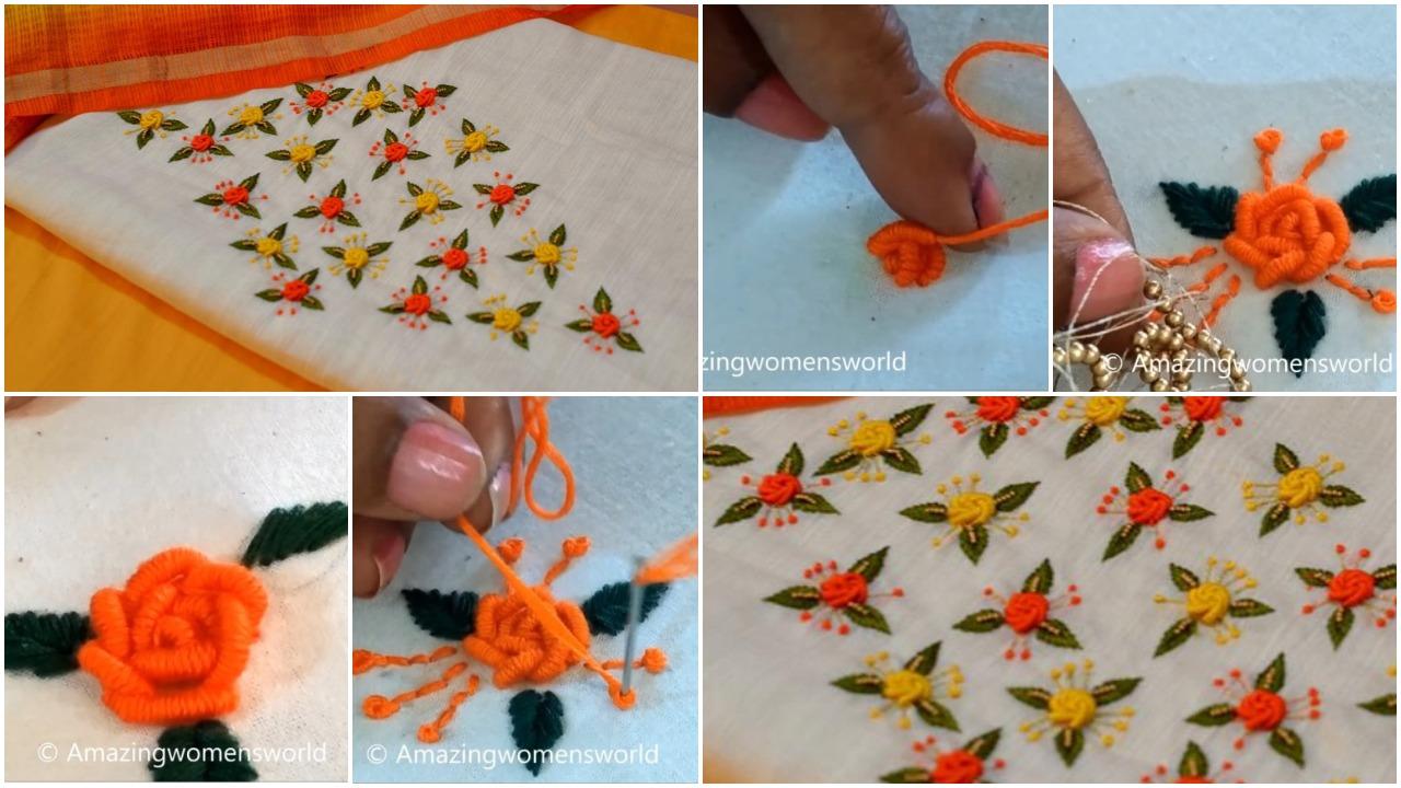 Bullion rose stitch for kurti