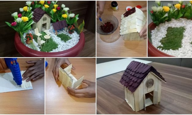 Miniature fairy garden from ice-cream sticks