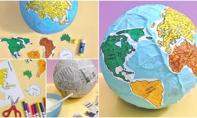 How to make globe of paper mache for school project