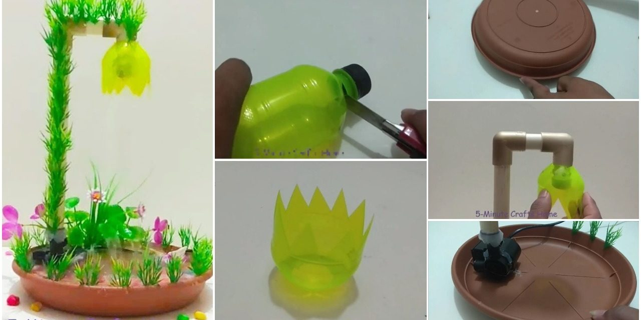 How to make fountain waterfall used plastic bottle