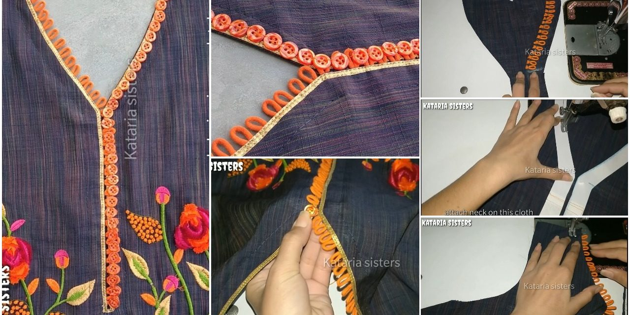 Very latest button loops neck design making