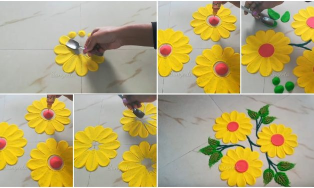 Easy muggulu kolam designs by using spoon