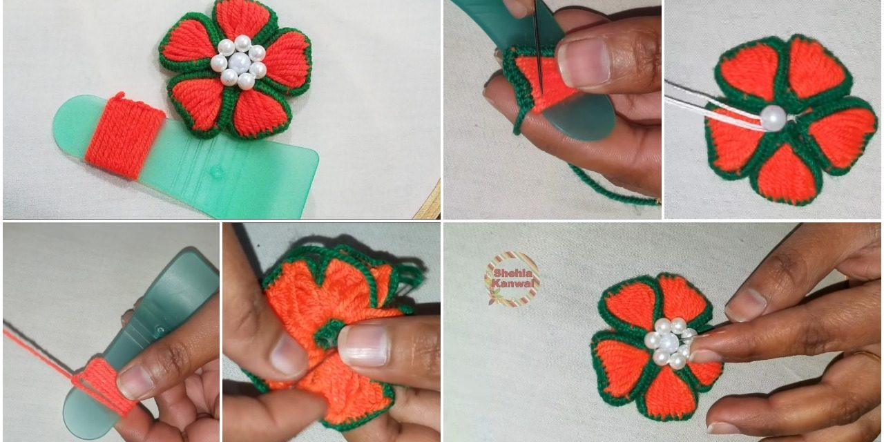 How to make flower embroidery trick with spatula