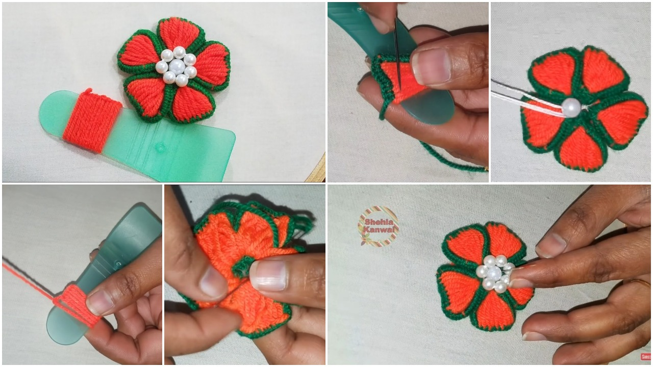 flower embroidery trick