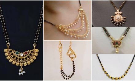 Black beads gold mangalsutra designs