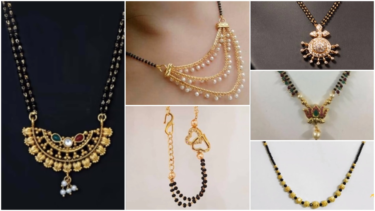 Black Beads Gold Mangalsutra Designs Simple Craft Ideas