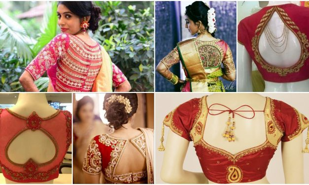 Blouse back neck designs for bridal sarees