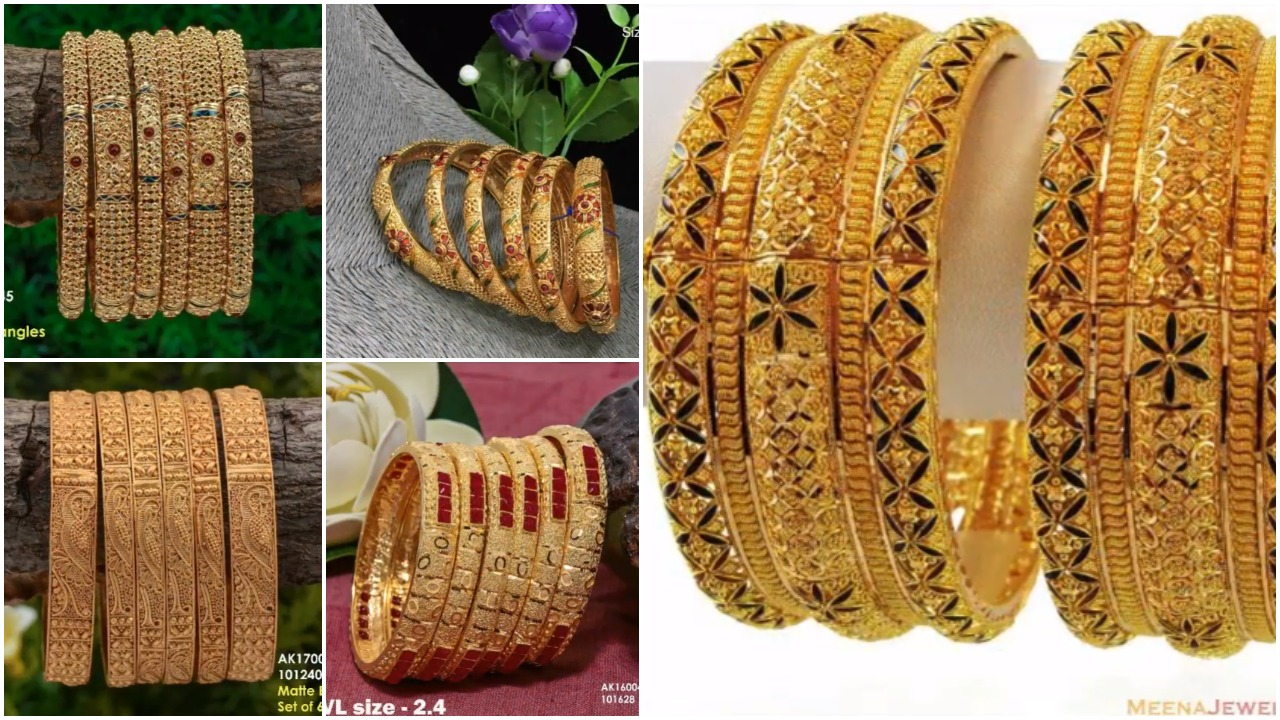 Latest 6 piece gold bangles designs
