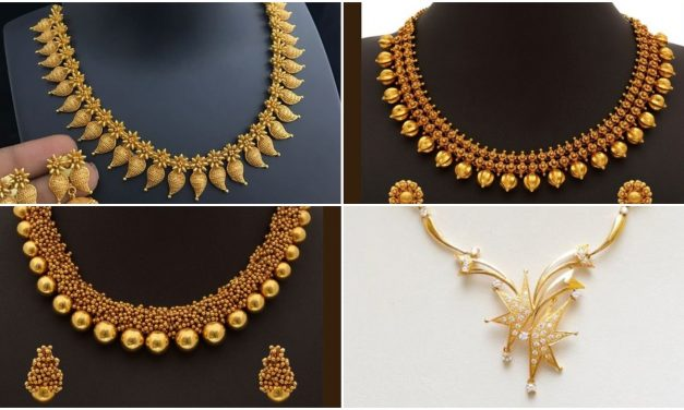 Designer light weight gold necklace for women