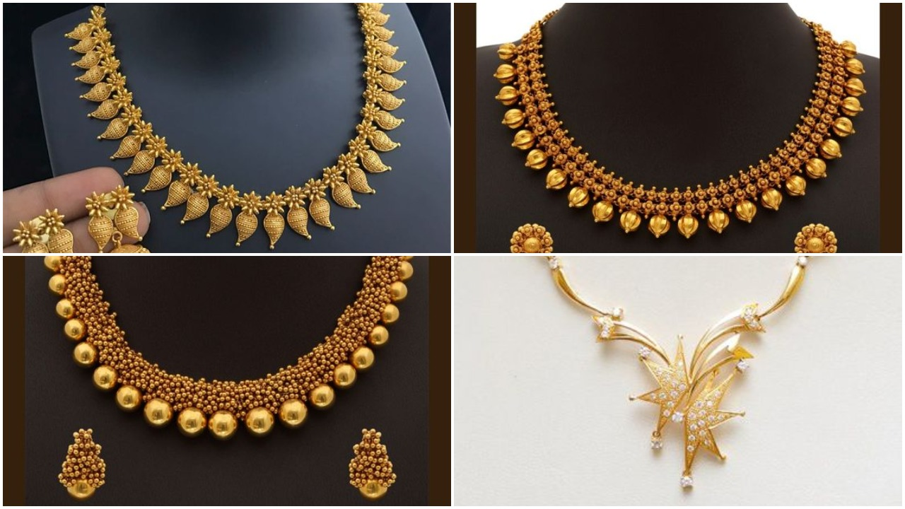 Designer light weight gold necklace