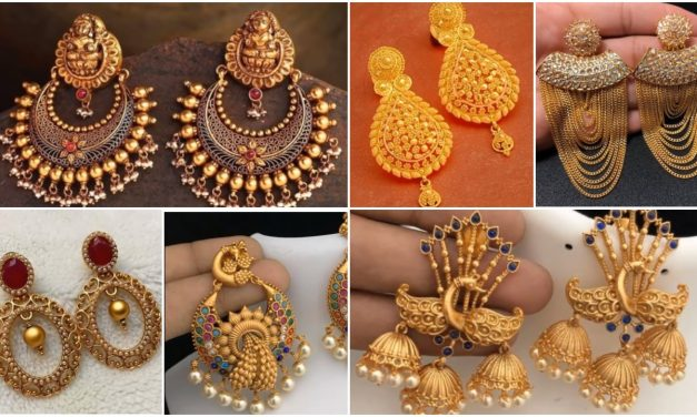 Traditional gold earrings design for women