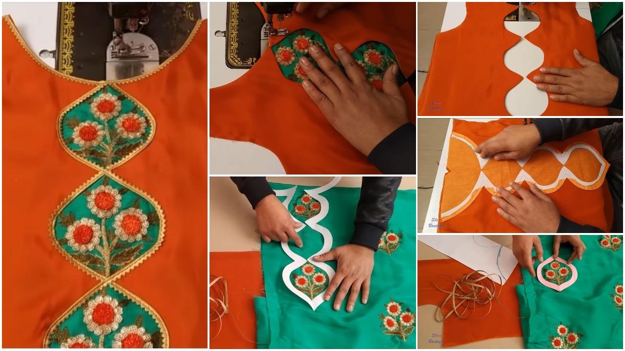 Trendy kurti design with gotta patti