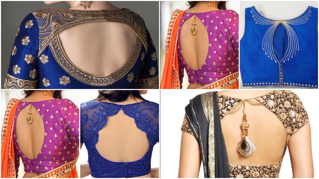 Stylish designer back neck blouse
