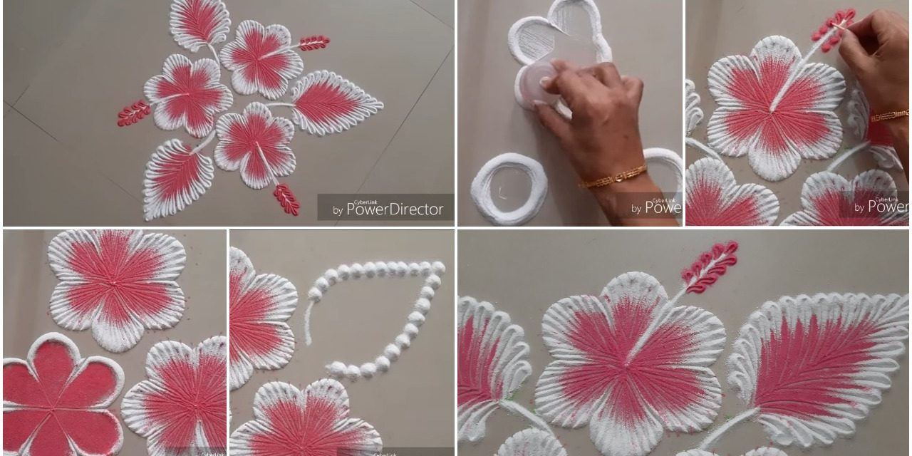 Easy hibiscus flowers rangoli design