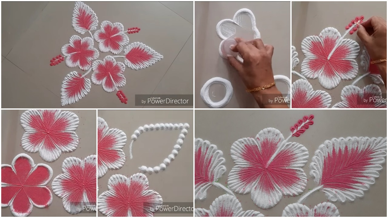 Easy Hibiscus Flowers Rangoli Design Simple Craft Ideas