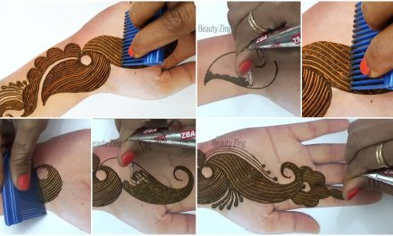 Arabic henna design from comb