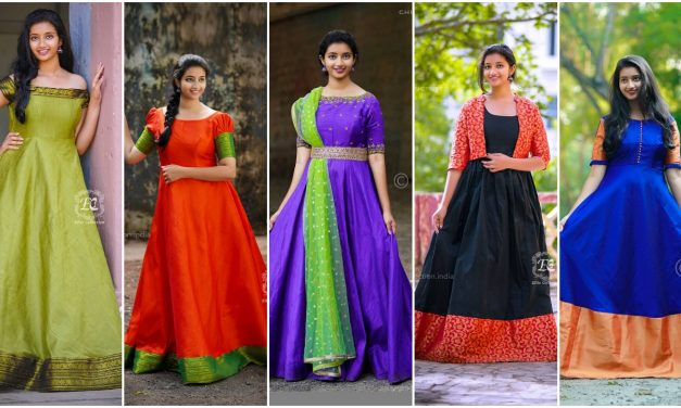 Stylish ethnic long dress to re-use old silk sarees