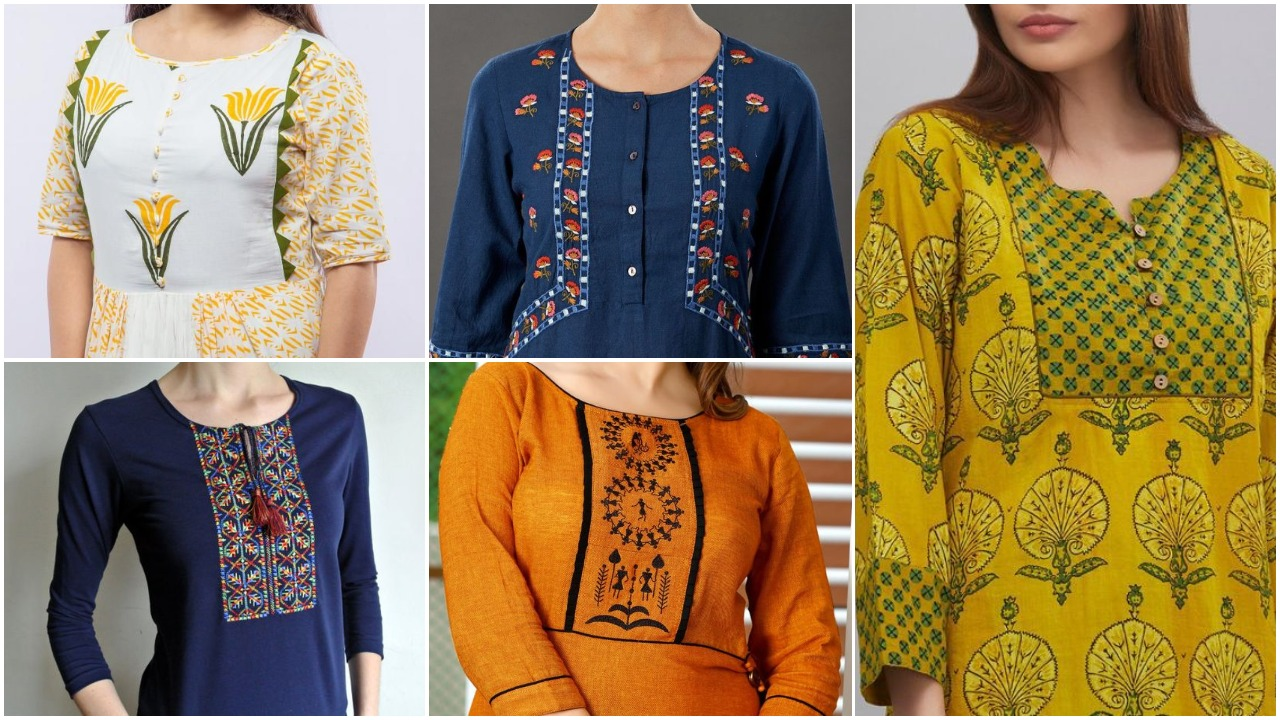 fashionable kurti neck design