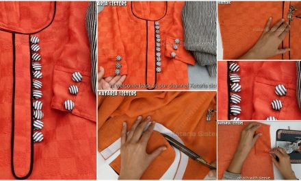 Stylish button neck and sleeves design making