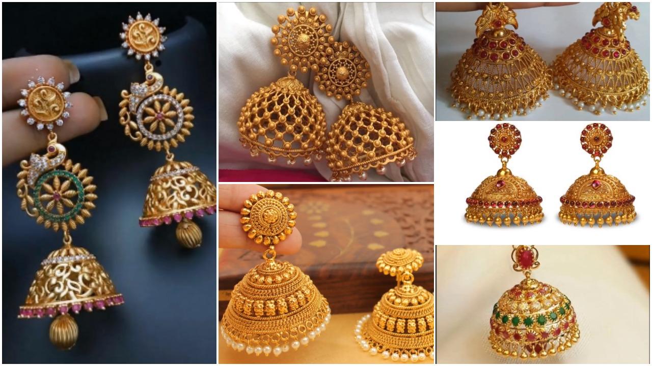 cab6145db Latest gold antique jhumka designs - Simple Craft Ideas