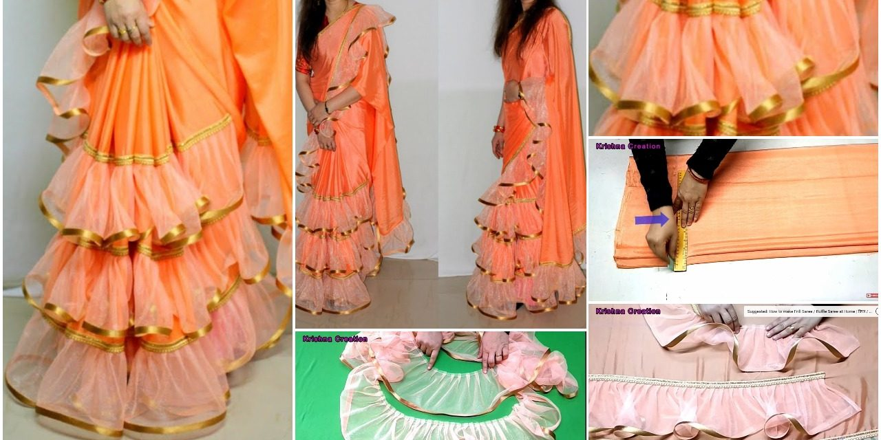 3 Layer frill or ruffle saree making
