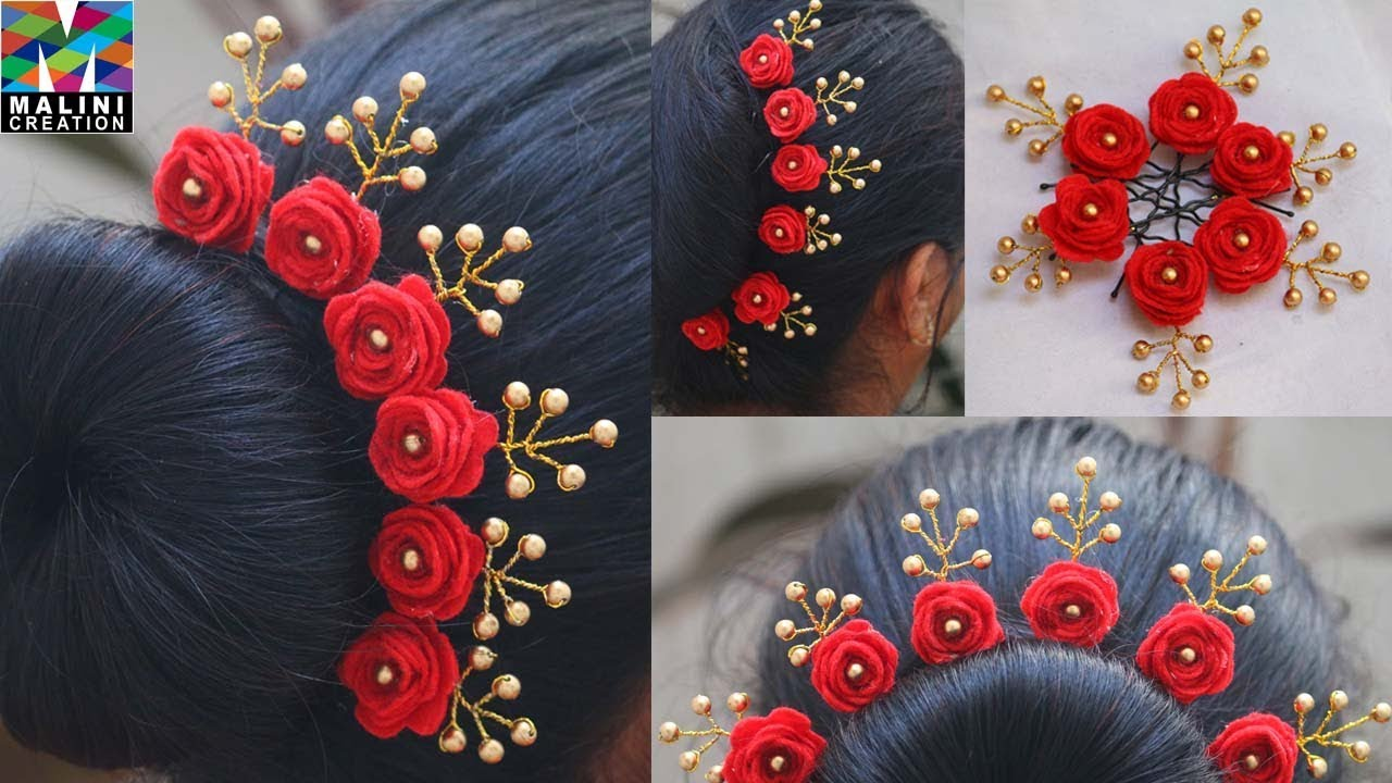 rose pearls hairstyle with U pins