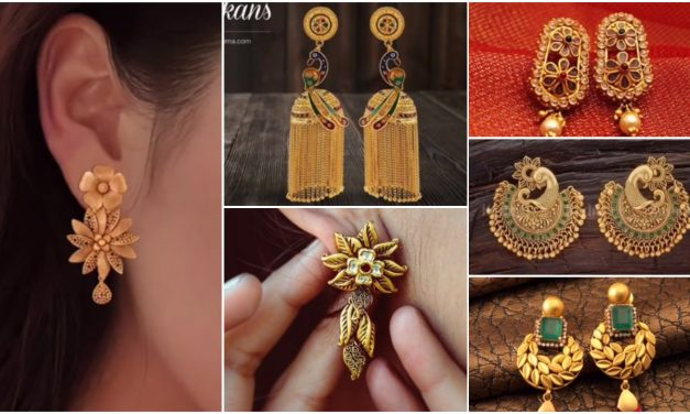 Daily wear light weight gold earrings designs